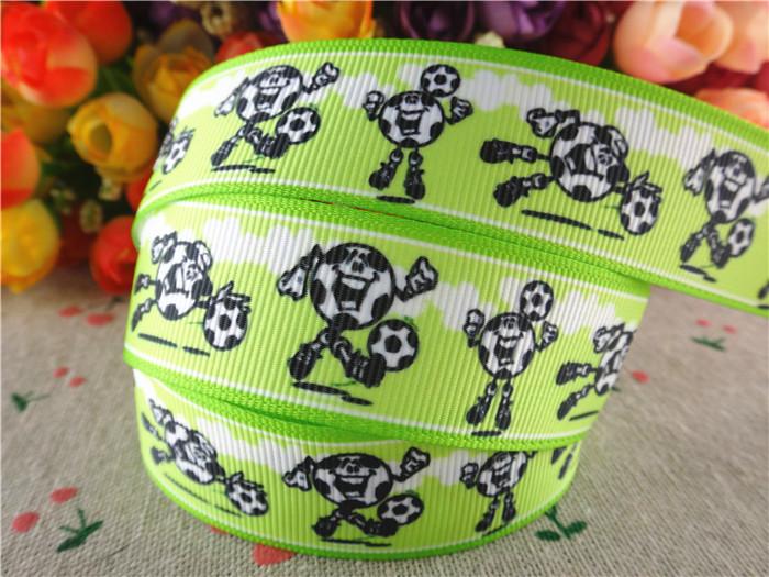 15070437, 1' (25mm) 10 yards sports football printed grosgrain ribbons cartoon ribbon hair accessories tape(China (Mainland))