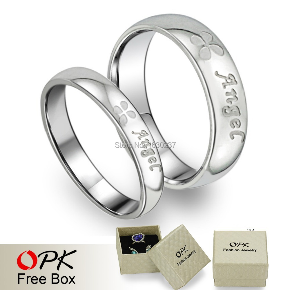 OPK Engagement lover couples his and hers promise ring sets Women Mens Stainl