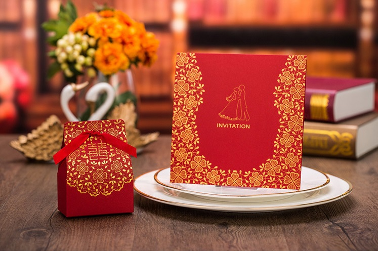 Free Shipping 10pcs customized square Indian red Party/Birthday Laser Wedding invitation card, no envelope,no inner sheet(China (Mainland))