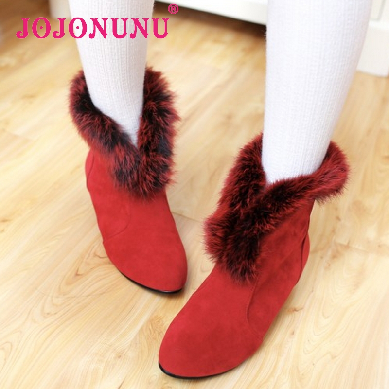 women falt half short ankle boots martin winter botas fashion pointed toe fur warm mujer footwear boot shoes P19987 size 31-43<br><br>Aliexpress
