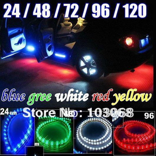 "HOT NEW PVC Waterproof LED NEON UNDER Car Light Red Blue White Green Yellow 9"" 18"" 27"" 36"" 45"""