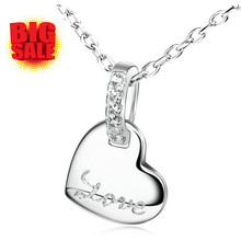 Romantic Love Letter Necklace Heart Pendants  For Girlfriend Boyfriend Valentine Day Birthday Gift 925 Sterling Silver Jewelry (China (Mainland))