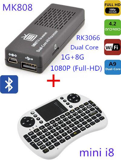 Free shipping MK808B Mini I8 Rii Air Mouse Wireless Handheld Keyboard Android 4.2 Dual Core Mini PC TV BOX 8GB memory(China (Mainland))