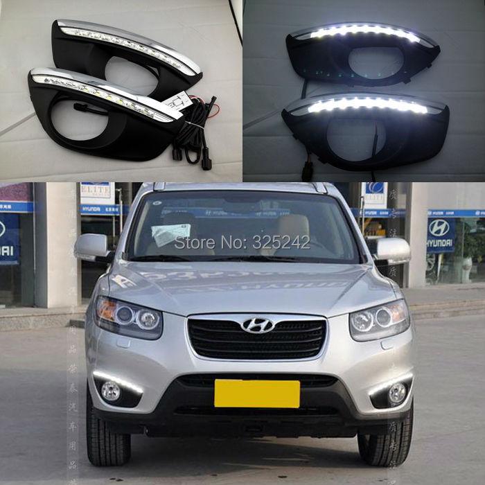 free shipping,Excellent CAR-Specific Hyundai Santa Fe 2010-2012 LED DRL,LED Daytime Running Light, Ultra-bright LED illumination