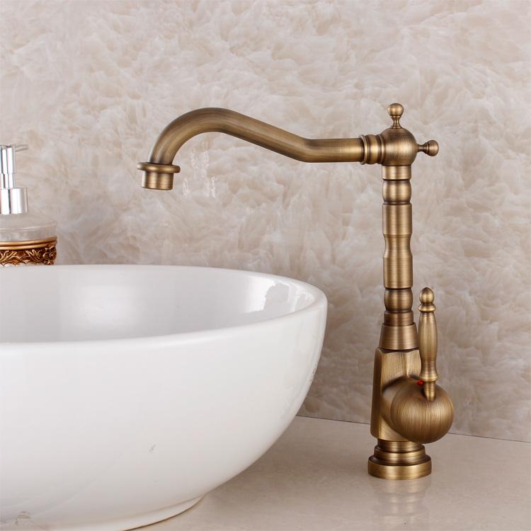 Buy Fashion Bronze Faucet Antique Kitchen Mixer Basin Mixer Vintage Sink Faucet