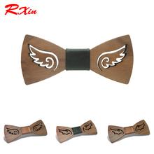 R.XIN Brand New Design Fashion Handmade Wood Angel wings Wedding Bowtie Gravata Ties For Men DIY Hollow Mens Wooden Bow Tie(China (Mainland))