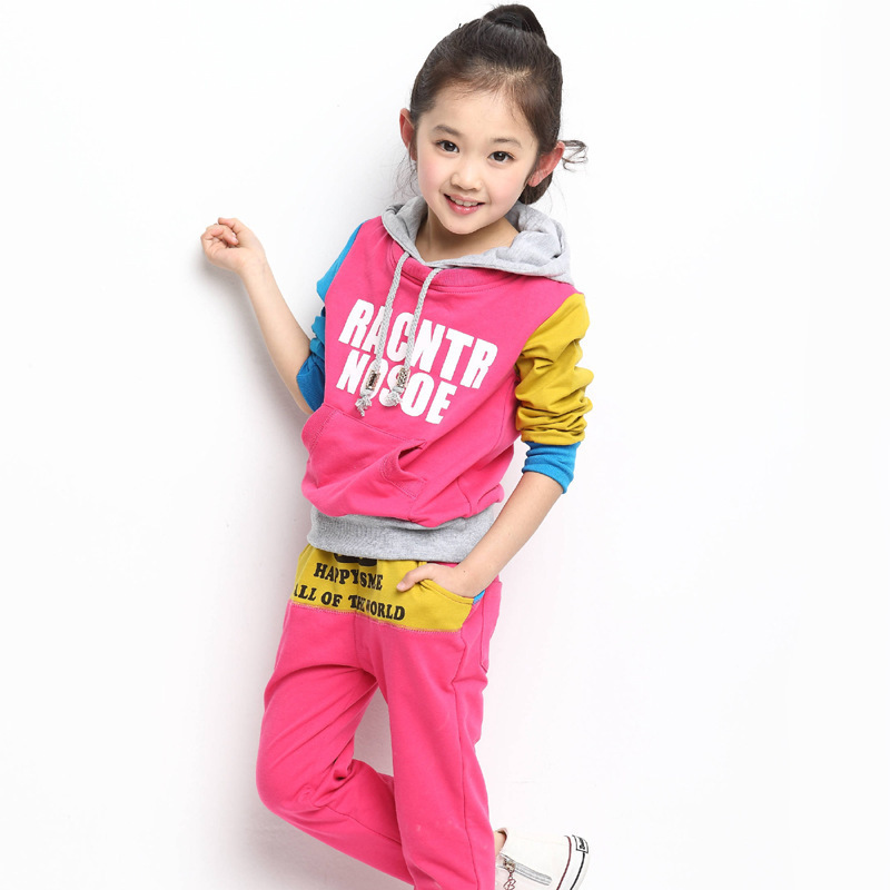 2014 Fashion autumn new style loose all cotton exercise hat Leisure girl children garments hoodies girl clothing two-piece suit(China (Mainland))