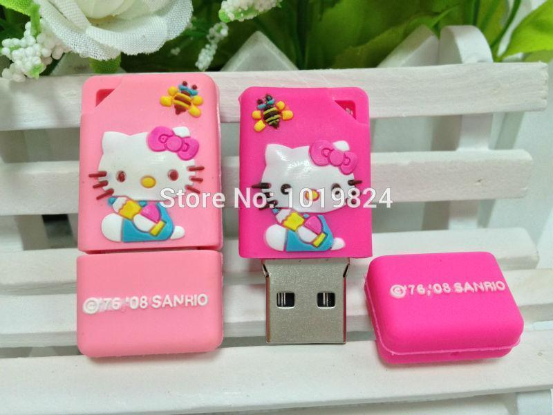 100% real capacity Cartoon lovely cat model USB Flash drive Pen Drive Stick 1GB 2GB 4GB 8GB 16GB S235 #AA(China (Mainland))