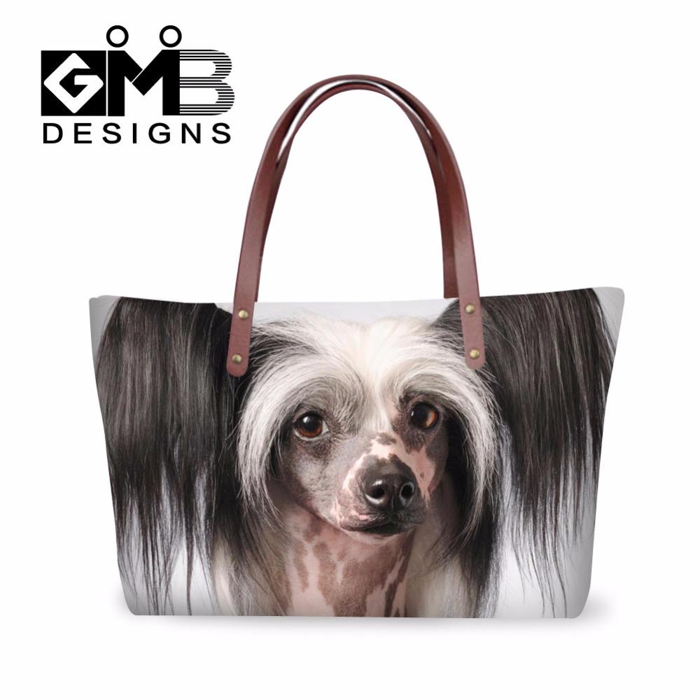 Top quality 2016 fashion women handbags Chinese crested dog pattern shoulder tote market day shopper hand bag bolsas femininas(China (Mainland))