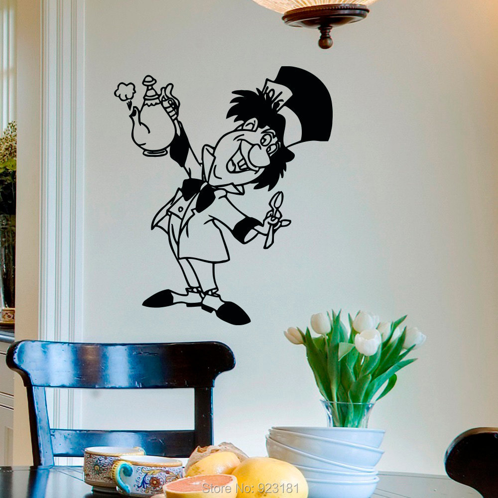 Alice In Wonderland Mad Hatter Tea Party Wall Art Sticker Decal Home