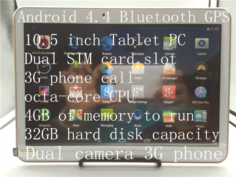 Free shipping Samsung 10 .5inch tablet 1280*800 octa core MTK6592 dual sim phone tablets 4GB / 32 GB android tablet bluetooth(China (Mainland))