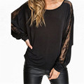 Plus Size Blusas 2016 Fashion Women Lace Stitching Long Batwing Sleeve T shirt Sexy Tops Tee