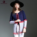 2016 Sinofashion New Autumn Fashion Knit Cardigan 16811 Round Neck Long Patchwork Contrast Color Thin Sweater