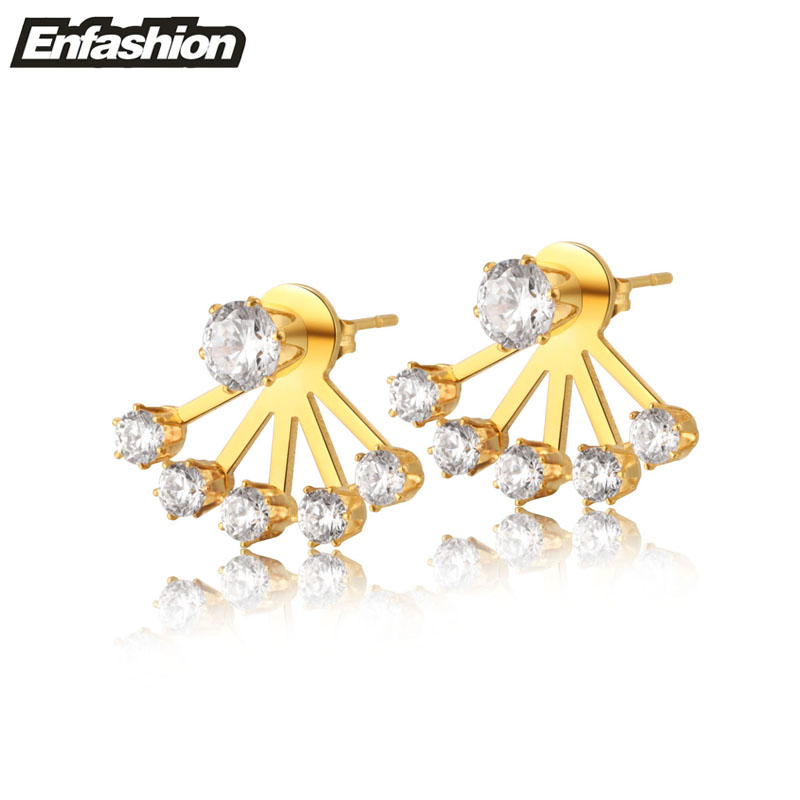 Crystal earring ear cuff studs 18K rose gold plated stud earrings for women stainless steel earrings fashion jewelry wholesale(China (Mainland))