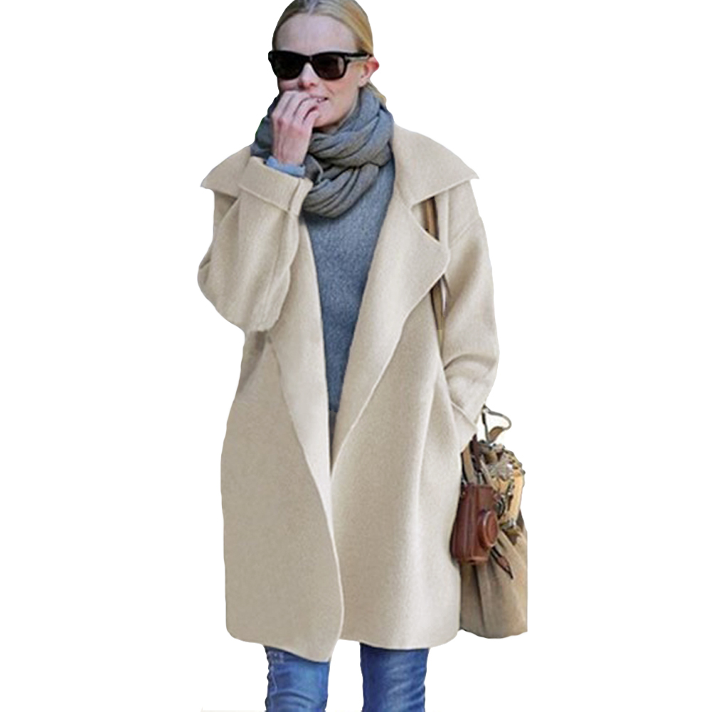 2016 Fashion Women Long Sleeve Cardigan Turn Neck Collar Side Pockets Knitted Cardigan Women Winter Coat Warm Outerwear(China (Mainland))