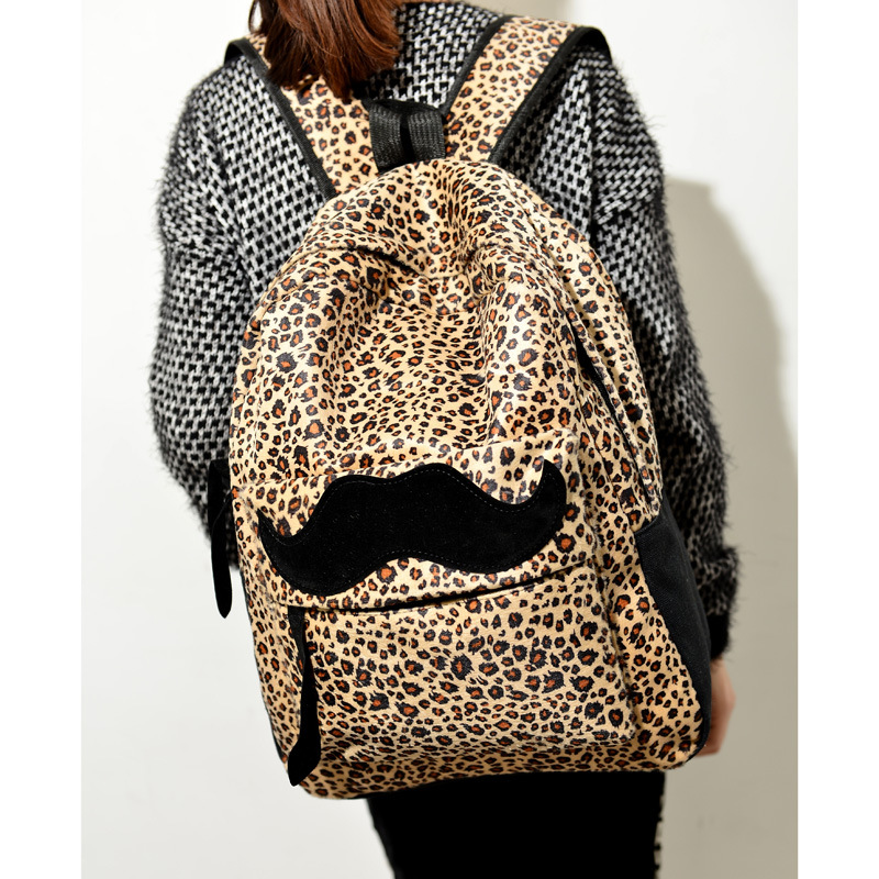 New fashion women leopard backpack lady casual large daypack cute high school teenager girl student book bag fashion vintage bag(China (Mainland))