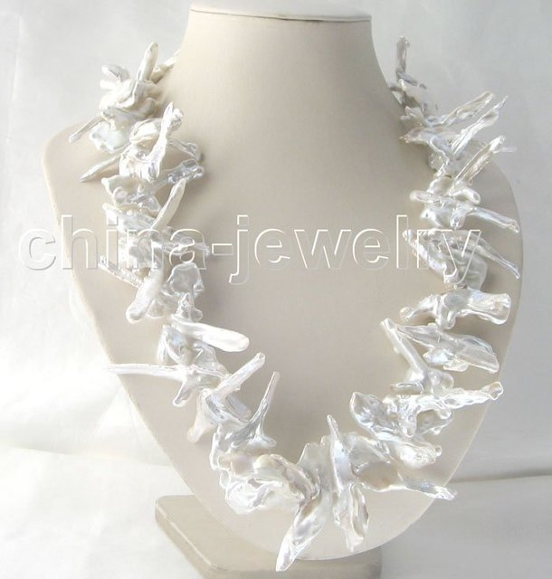 "Beautiful 26"" 39-58 mm white baroque keshi reborn pearl necklace - 925 silver"