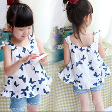 summer 2016 girl flounce blouse fashion cotton sleeveless girls tops baby girls blouses kids clothing for sale(China (Mainland))