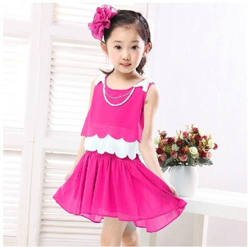 Free shipping ! clearance sale! summer child sleeveless  suspender skirt little princess chiffon skirt patchwork