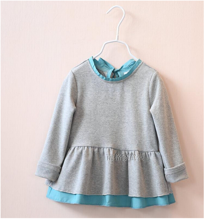 30737632 Wholesale New 2015 Autumn Girls Tops Kids Tops Patchwork O-Neck Solid Children Clothing Supplier Girl Clothing Lots<br><br>Aliexpress