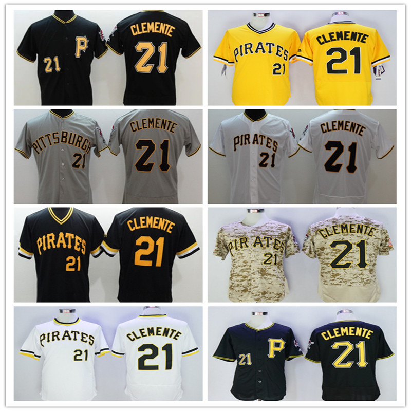 2016 New Arrival Flexbase #21 roberto clemente Jersey Stitched White Camo Yellow black Gray throwback baseball jersey(China (Mainland))