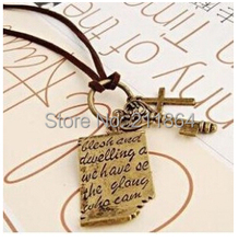NK192 Shakespeare Cross Leather Key Vintage love letter sweater chain necklace jewelry wholesale