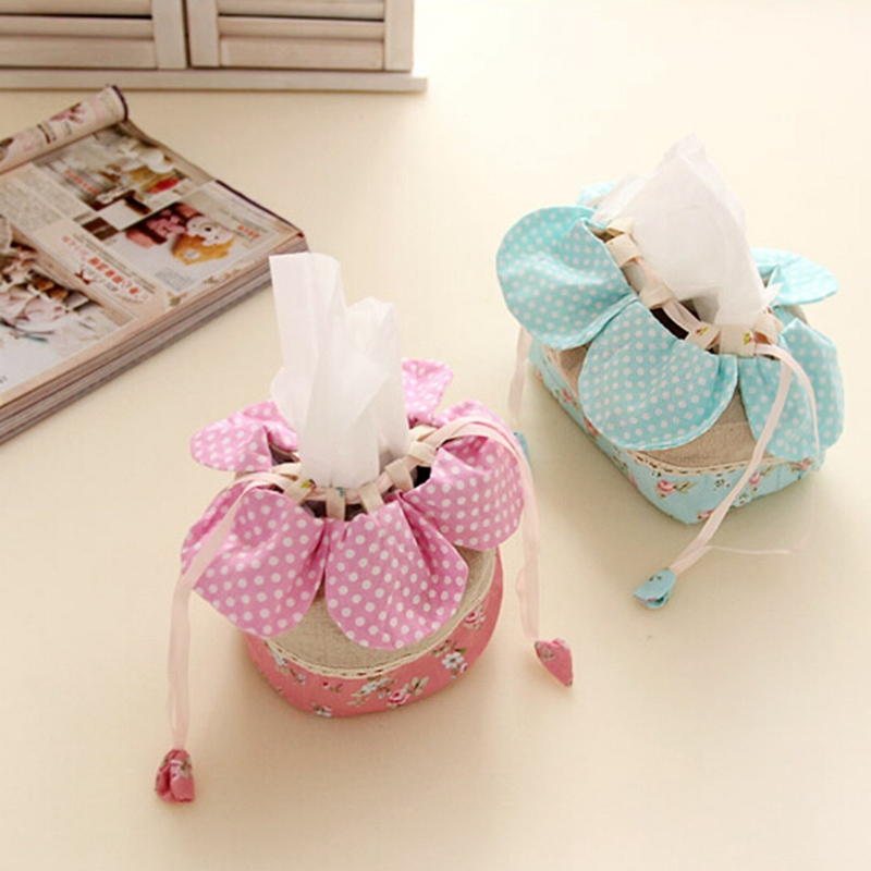 Floral Tissue Paper Cover Box Storage Holder Bag Case Office Car Home Decor Pink And Blue Bathroom Tools Best Promotion(China (Mainland))