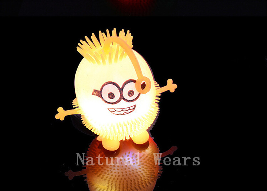 1 Pcs Minions Stress Ball Effective Spiky Massage Trigger Point Muscle Pain Relief Despicable Me Children Toy Flashing Soft Doll