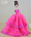 Unique White & Rose Stripe Gown / New Design Real Skirt Robe Outfit Garments For 1/6 Kurhn Barbie Doll Child toy