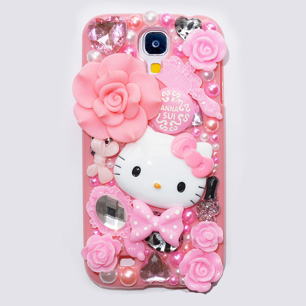 Cute Fashion Hello Kitty Pearl Crystal Plastic Case For Samsung Galaxy S4 Case Hard Cover Phone Cases For I9500(China (Mainland))