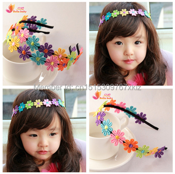 Fashion baby girl children's hair accessories Headband Embroidered flowers garland girl hair bands issuing headband(China (Mainland))