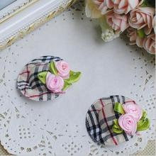 2015 Baby girl's styling tool Tartan flowers hat hairpin headwear 2piece hair accessories for women kids make they cute lovely