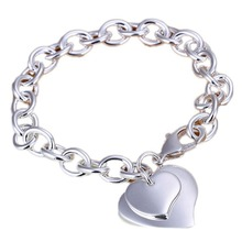 Fashion Silver Plated Bracelet Trendy Jewelry Heart Bangles With Chian BL-0443-SV(China (Mainland))