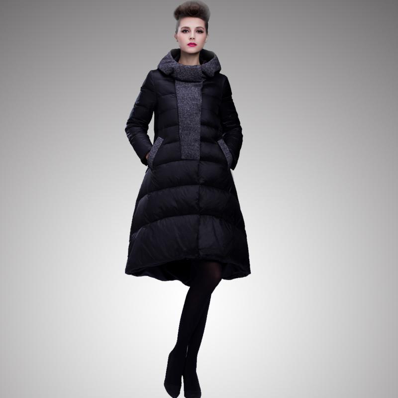 Высокое качество 2015 зима италия мода женщин пуховик женский Большой размер толстые асимметричная юбка подол вниз парки Oyterwear