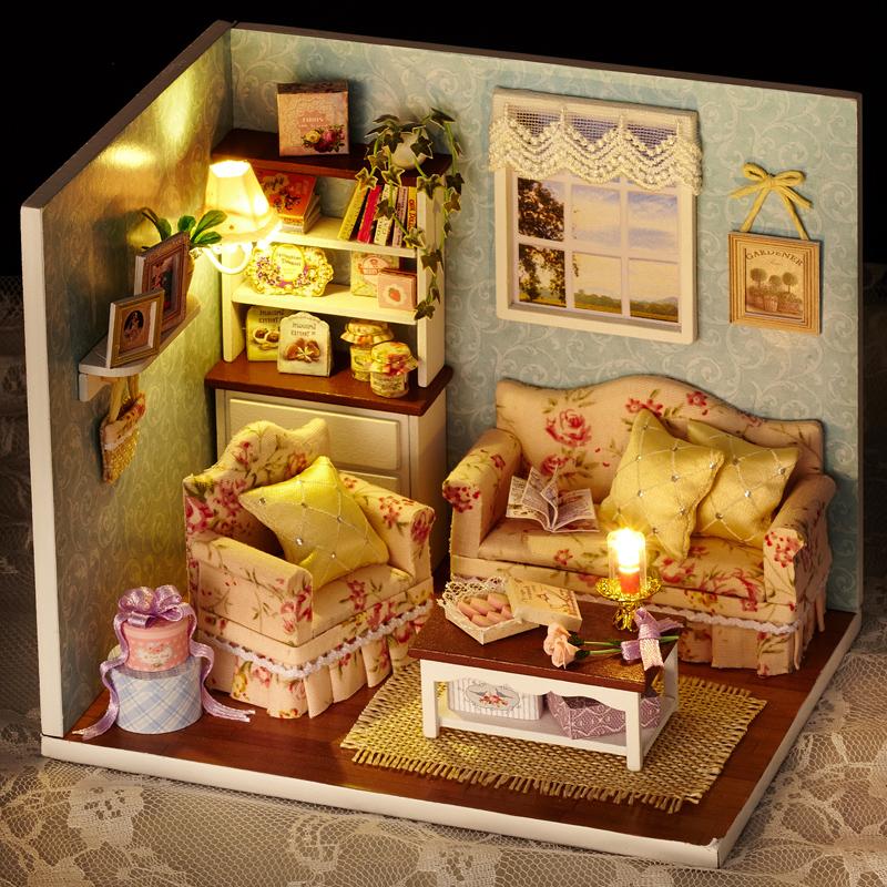 Handmade House Toy Doll House Dollhouse Room Diy Toy House Set Assemble Miniature Doll House Lighting Miniature Dollhouse(China (Mainland))