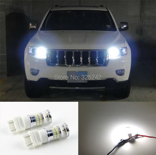 For Jeep Grand Cherokee 2011-2012 with HID headlights Excellent Xenon White Reflector 3157 LED Bulbs Daytime DRL Light led light(China (Mainland))