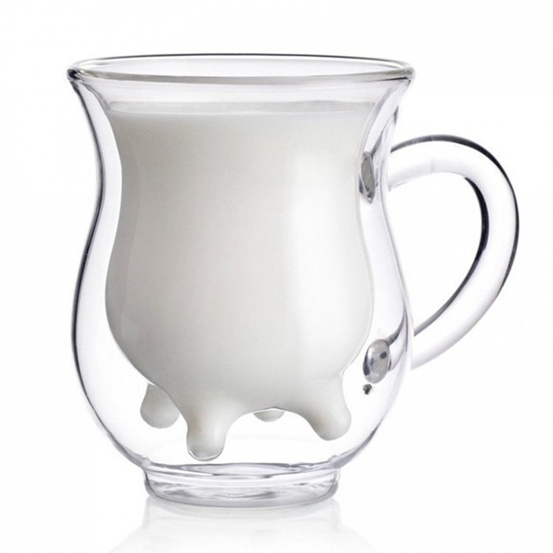 40pcs/lot Vintage Double Layer Cow Milk Glass Cup Clear Juice Tea Morning Cup Mug 250ml Funny Kitchen Drinkware(China (Mainland))