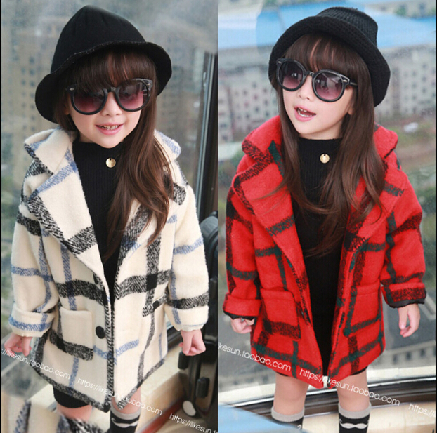 Free shipping Qiu dong outfit new han edition girls woolen cloth coat children font b tartan