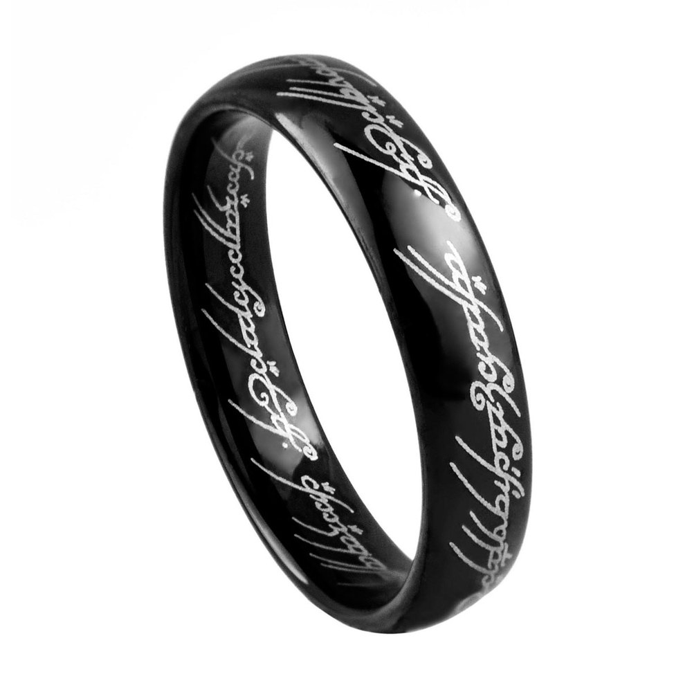 Lord Rings Black Tungsten Wedding Bands Width 4mm /TURI0005 BL