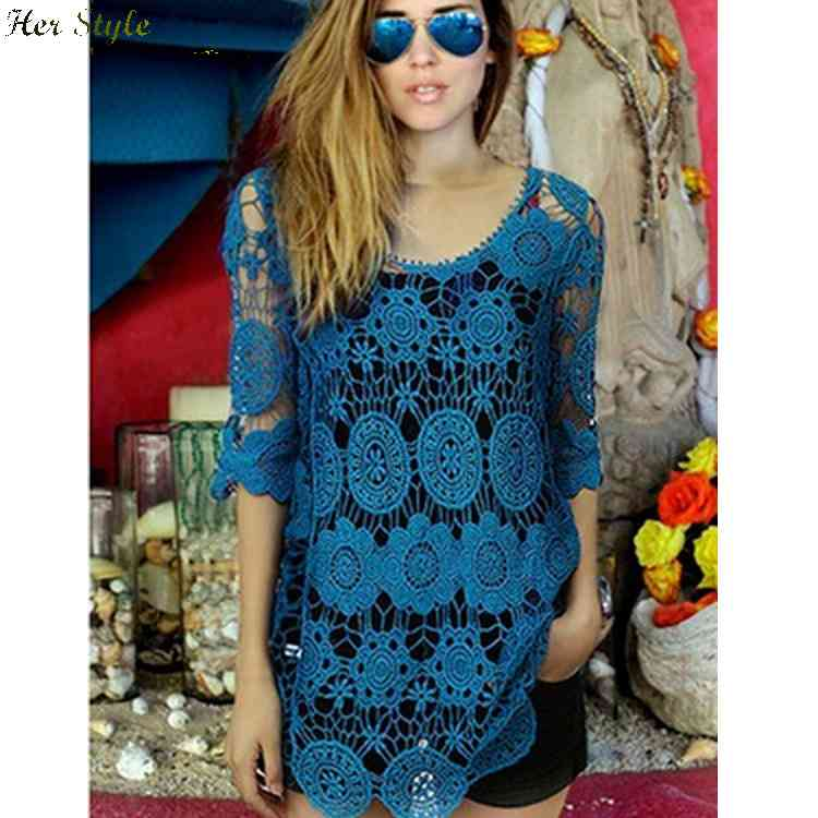 Free Shipping new sexy lace openwork flower knit smock dresses Beach 1432129361(China (Mainland))