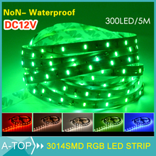 High Bright 3014 LED Strip 300Leds 5M Flexible light DC12V 60Led/m Blue Green Red White Warm White More Bright Than 3528 5M/Roll(China (Mainland))