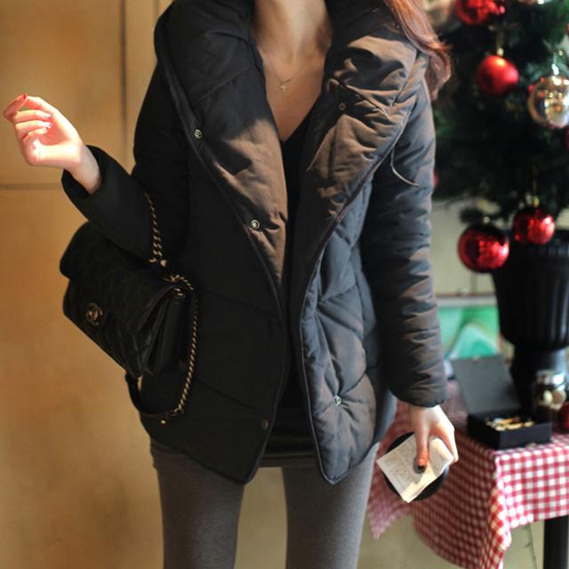 Новый 2015 осень и зима мода дамы полупальто хлопка-ватник женщины тонкий сплошной ...