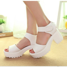 2016 Women Summer shoes white Black fashion platform soft PU sandals women's high-heeled shoes thick heel sandals big size 25 cm