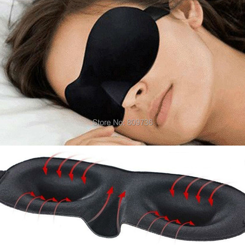 1X hot sale Travel Rest 3D Sponge Eye MASK Black Sleeping Eye Mask Cover for health care to shield the light Gift Free Ship(China (Mainland))
