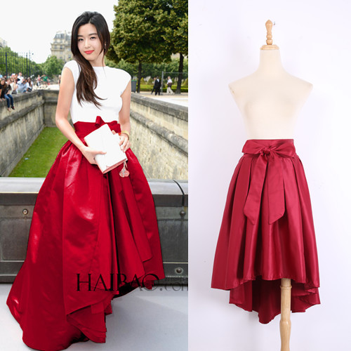 Europe bow irregular high waisted long skirt red color fashion show retro women skirt-in Skirts ...
