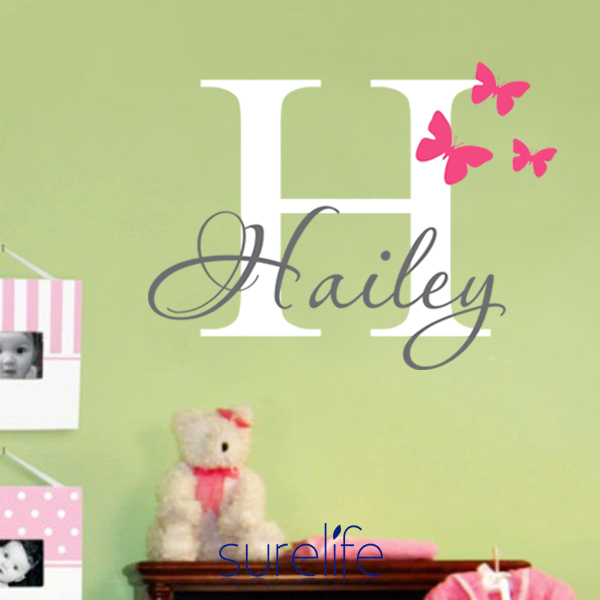 Wall Art Stickers Custom : Girls name wall decal sticker butterfly decals