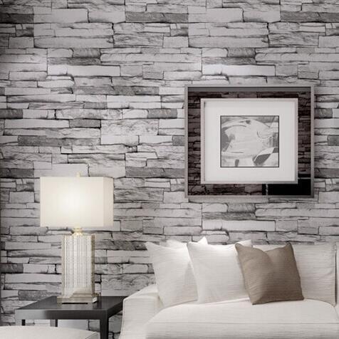 Pvc Wallpaper 3d Stone Brickdesign Wallcovering 10m Wood Blocks Effect Brown Wall Paper Roll