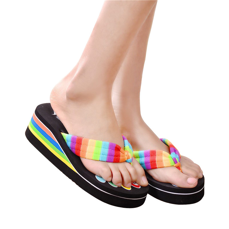 New Fashion Women Colorful Shoelaces Flip Flops Beach Slippers Platforms Sandals Woman Ladies Thick High Heel Wedge Shoe Zapatos<br><br>Aliexpress