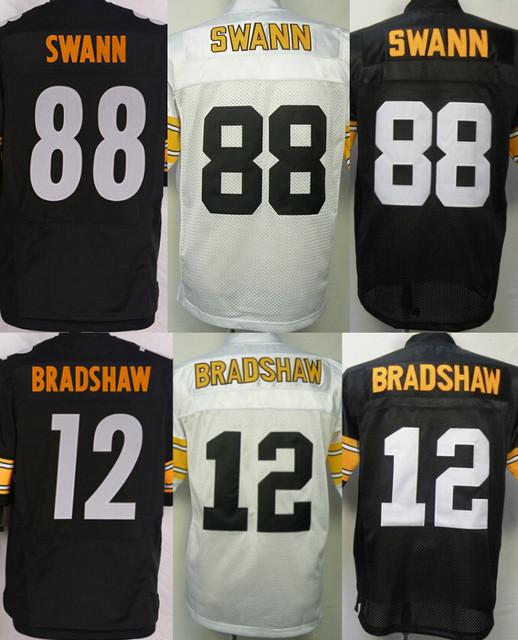 Men's Authentic Elite #88 Lynn Swann jersey 12 Terry Bradshaw Football Jersey