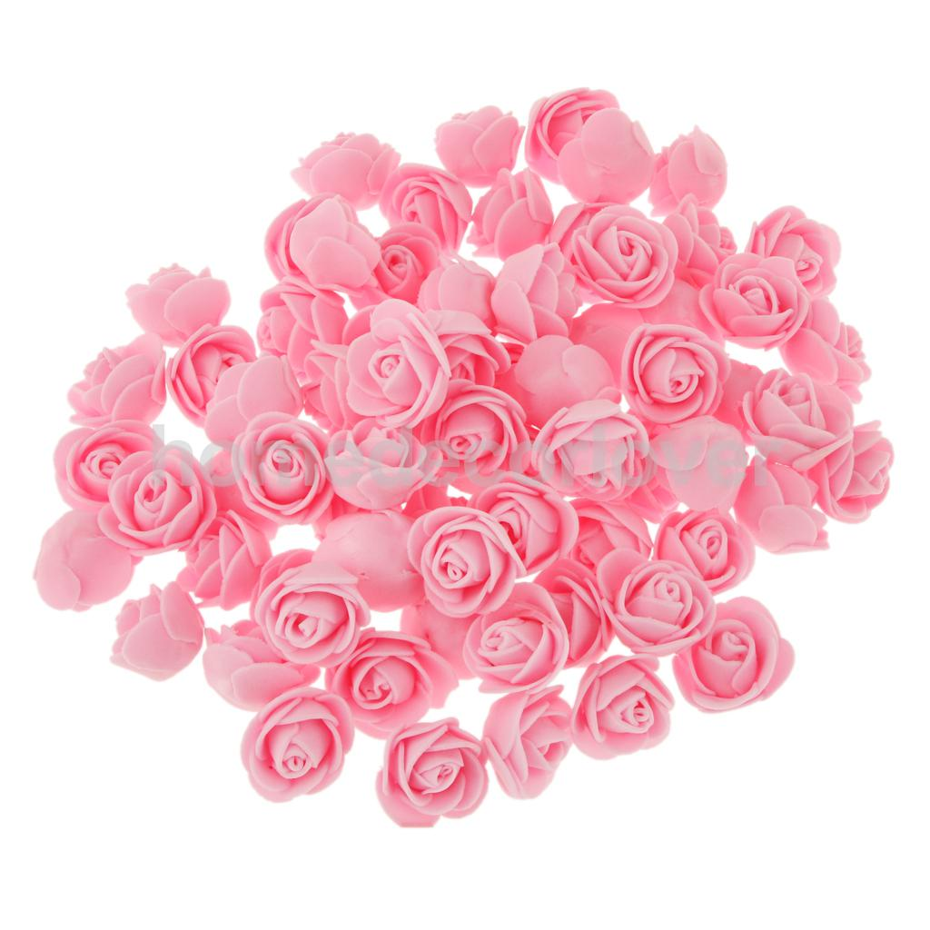 100xPE Plastic Rose Head Artificial Flower Wedding Party Bridal Gift Decor 8 Colors(China (Mainland))